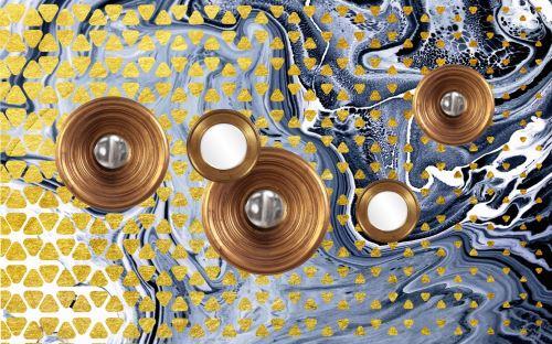 04 - Zlaté kruhy a trojúhelníky na kovovém pozadí