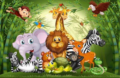 00001 - Divoká zvířata v bambusovém lese