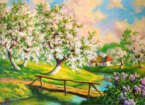 02 - Malba rozkvetlé stromy u potoka