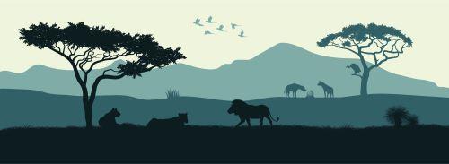 08 - Černá silueta zvířat africké savany