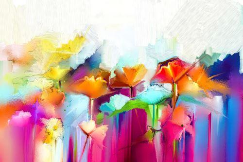 04 - Abstraktní barevné olejomalba květin