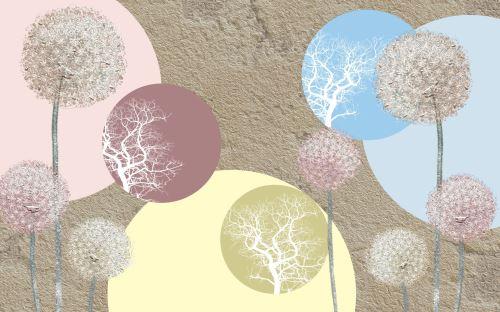03 - Abstraktní ilustrace s barevnými pampeliškami na béžovém pozadí