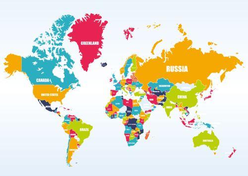 01 - Mapa světa - barevná