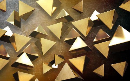 01 - 3D ilustrace se zlatými pyramidami