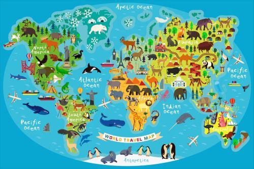 02 - Mapa světa se zvířaty